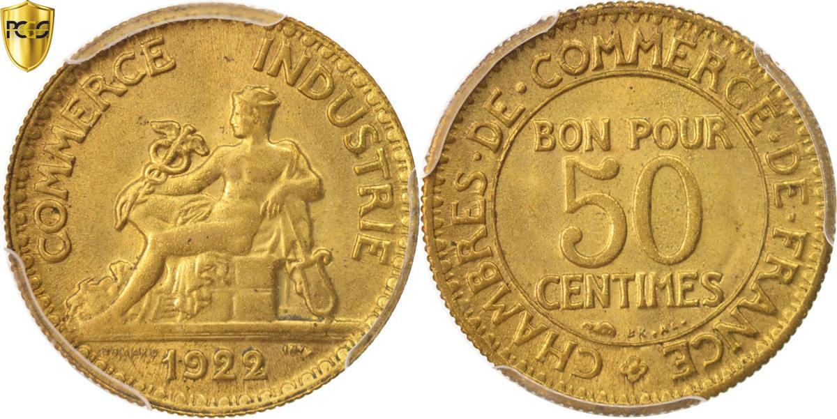 50 centimes 1922 paris france coin chambre de commerce for Chambre de commerce a paris