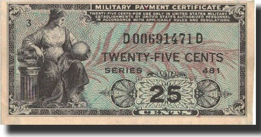 25 Cents Undated 1951 United States Banknote Undated Kmm24a Au
