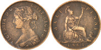 1/2 Penny 1861 Not Ap Great Britain Foreig...