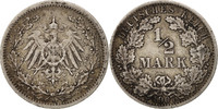 1/2 Mark 1907 A GERMANY - EMPIRE  AU(50-53)