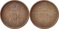 2 Pfennig 1851 B Deutsch Staaten Ernst Aug...