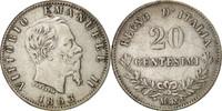20 Centesimi 1863 M Italien Vittorio Emanu...