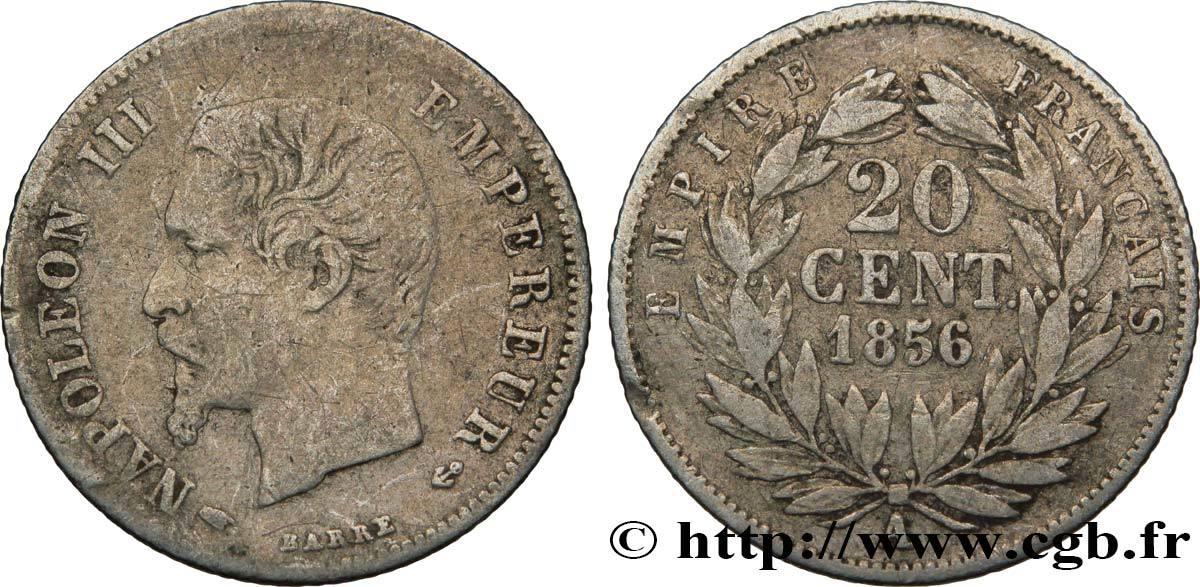 20 Centimes Napoléon Iii Tête Nue 1856 France Second Empire Paris