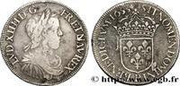 Demi-écu à la mèche longue 1653  LOUIS XIV...