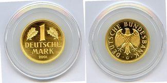 1 Mark GOLD 2001 G BRD zum Abschied der D-Mark Stempelglanz in Originalkapsel