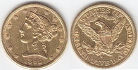 5 Dollars GOLD 1899 S USA Half Eagle sehr ...