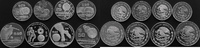 4 x 25 und 4 x 50 Pesos Silber 1986 Mexiko...