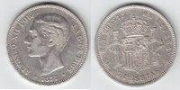 5 Pesetas 1877 Spanien Alfons XII. 1874-18...