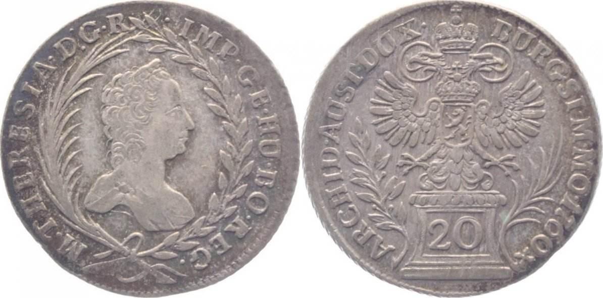 20 Kreuzer 1760 Haus Habsburg Maria Theresia 1740 1780 F Ef Ef