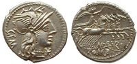 denarius 132 BC Roman Republican M. Aburiu...