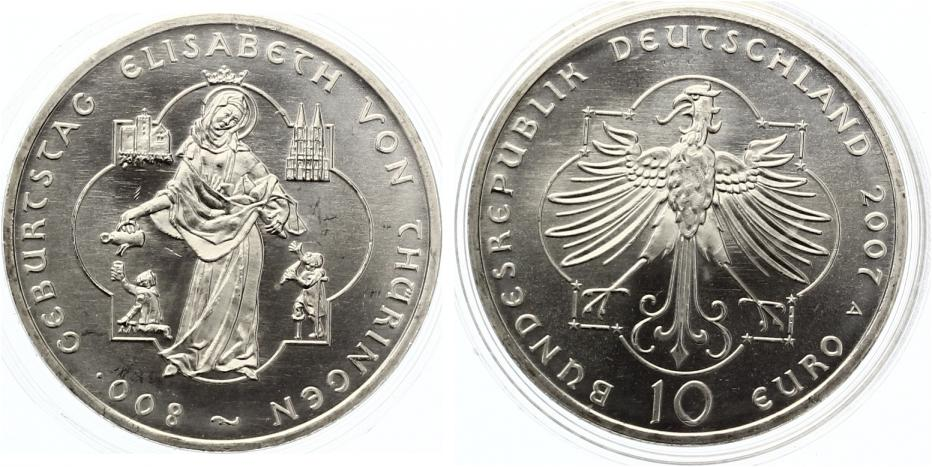2007 10 Euro 2007 800 Geburtstag Elisabeth Von Thüringen Unc Ma Shops