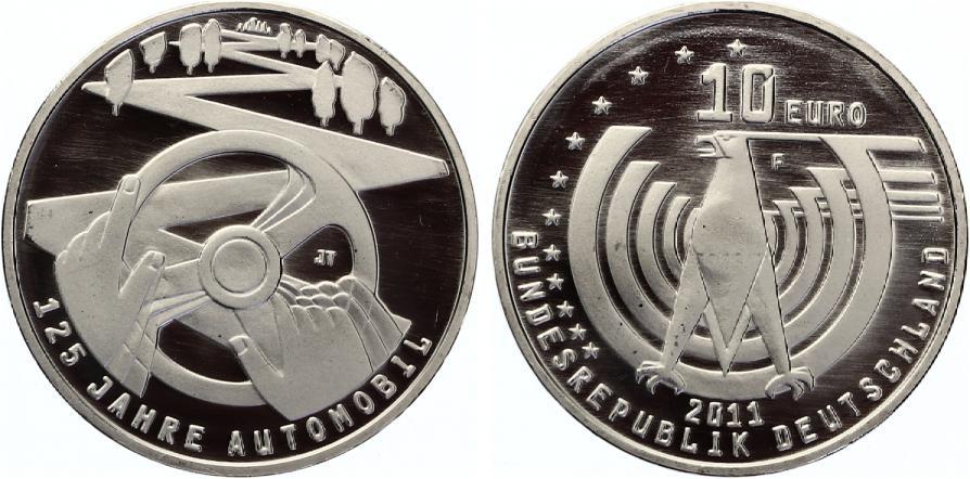 2011 10 Euro Gedenkmünze 125 Jahre Automobil 2011 Unc