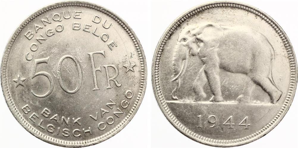 1944 Belgisch Kongo 50 Franc 1944 Elefant Vz Im Shop Muenzzentrum