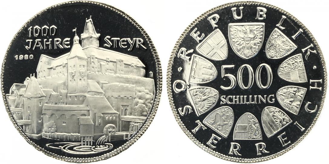 1980 500 Schilling 1000 Jahre Steyr Pp Mdm Zertifikat Ma Shops