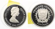 1977  Falklandinseln 50 Pence 1977 Silber pp