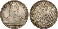 1913  3 Mark Völkerschlacht vz/prägefrisch
