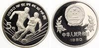 1990  China 5 Yuan 1990 Fussball WM 1990 pp