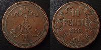 Finlande, Finland  Finlande, Finland, 10 pennia 1866, KM.5.1 TB à TTB