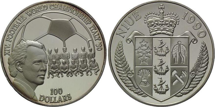 100 Dollars 1990 Niue Fussball Weltmeisterschaft 1990 In Italien Proof