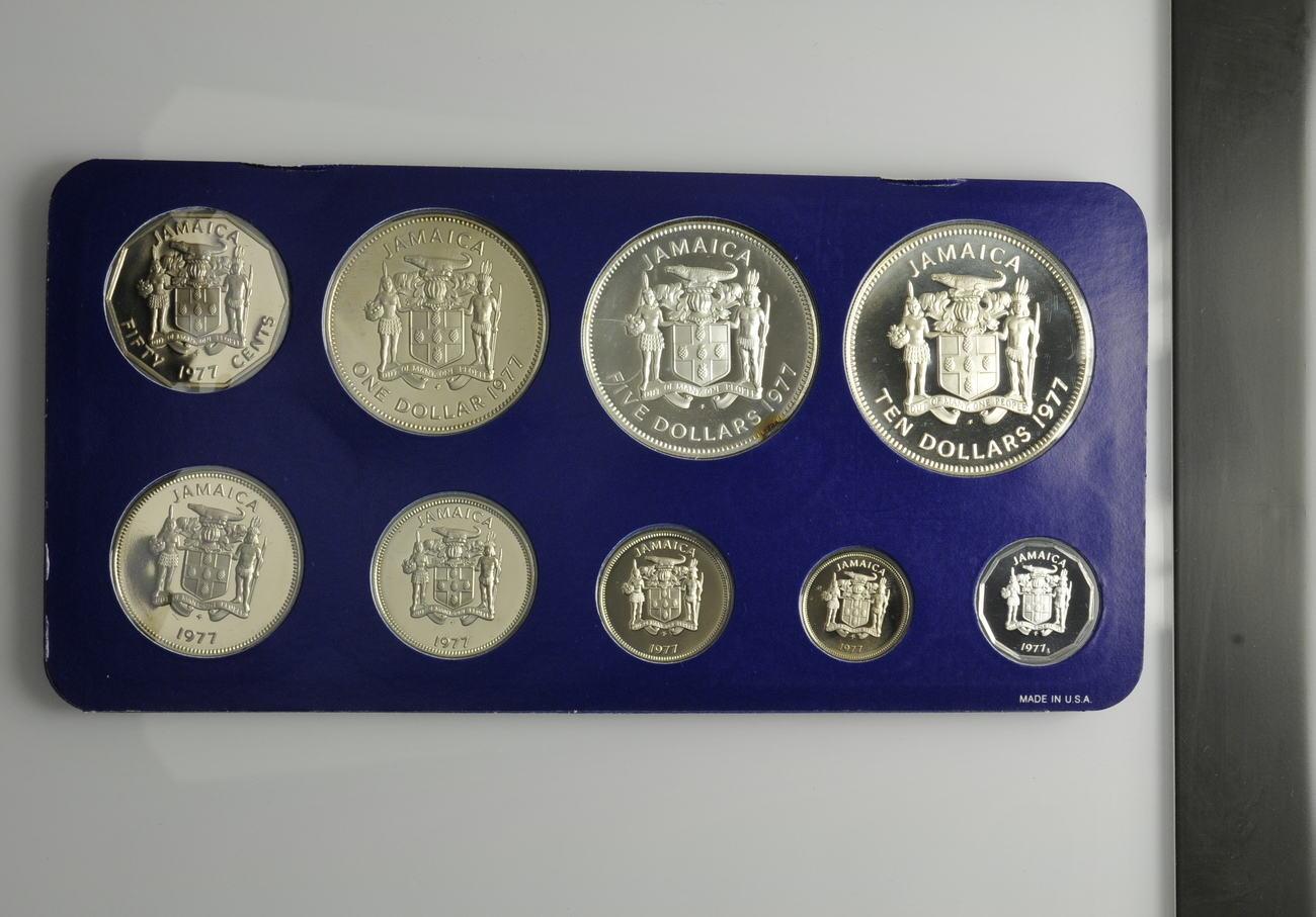 Kms 1 Cent 10 Dollar 1977 Jamaika Kursmünzsatz Der Franklin