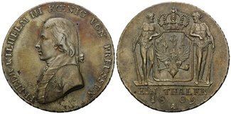 Taler 1809 A, Preussen, Friedrich Wilhelm III., 1797-1840, vz-st/f.st