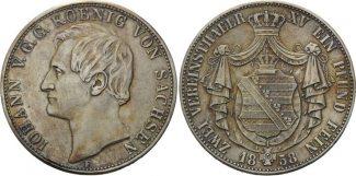 Doppeltaler 1858, Sachsen, Johann, 1854-1873, ss/vz