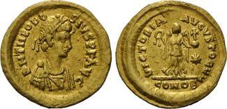 AV Tremissis, Konstantinopel, (416) Röm. Reich, Theodosius II., 402-450, vz