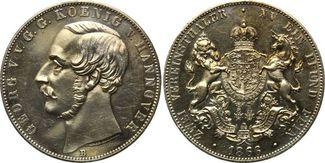 Vereinsdoppeltaler 1866 B, Hannover, Georg V., 1851-1866, f.st