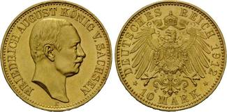 10 Mark 1912 E, Sachsen, Friedrich August III., 1904-1918, st