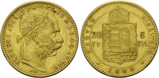 8 Forint 20 Francs 1888 KB, Ungarn, Franz Joseph I., 1848-1916, vz