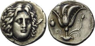 AR Didrachme nach 304 v.Chr. Kleinasien, Karien, Insel Rhodos, ss+