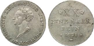 1/2 Konventionstaler 1821, Schaumburg-Lippe, Georg Wilhelm, 1807-1860, min. justiert, vz