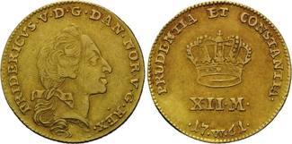 12 Mark 1761 W, Dänemark, Frederik V., 1746-1766, f.vz