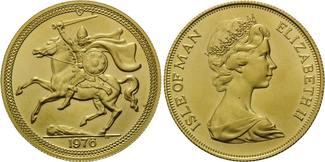 2 Pounds 1976, Isle of Man, Wikinger zu Pferd, st
