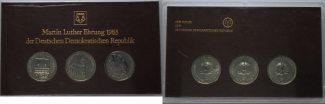 5 Mark 1983, DDR, Themensatz Lutherehrung, st, 3 Stk. in Originalverpackung