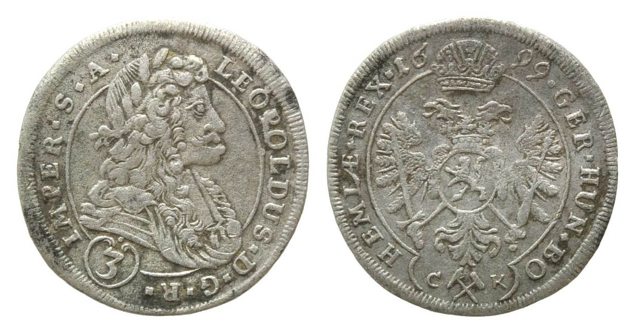3457e0c58 Groschen =3 Kreuzer 1699 CK, Kuttenberg, Haus Habsburg, Leopold I.,  1657-1705, ss   MA-Shops