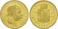 8 Forint 20 Francs 1877 KB Ungarn, Franz J...