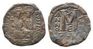 AE Follis Jahr E=570/ Byzanz, Justin II., ...