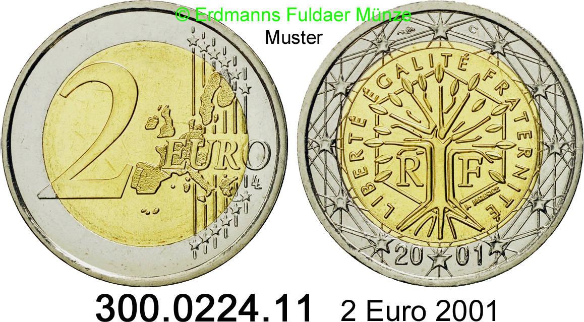 2 Euro 2001 Frankreich Kursmünze 300022411 Unc Ma Shops