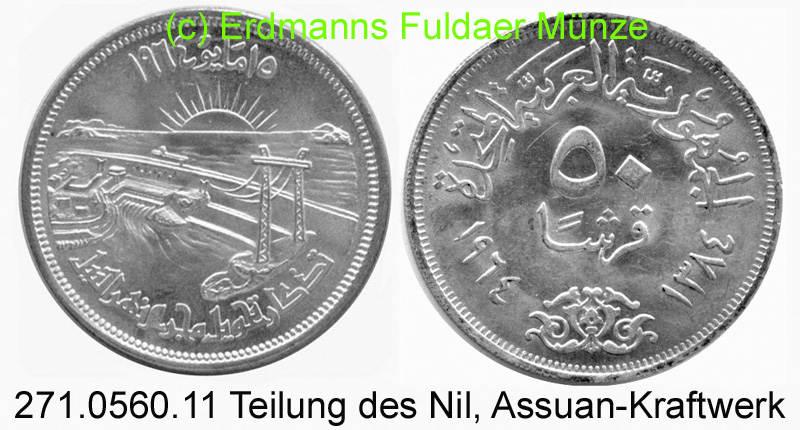 50 Piaster 1964 Egypt Ägypten *110 KM407 Assuanstaudamm . 271.0560.11 unc