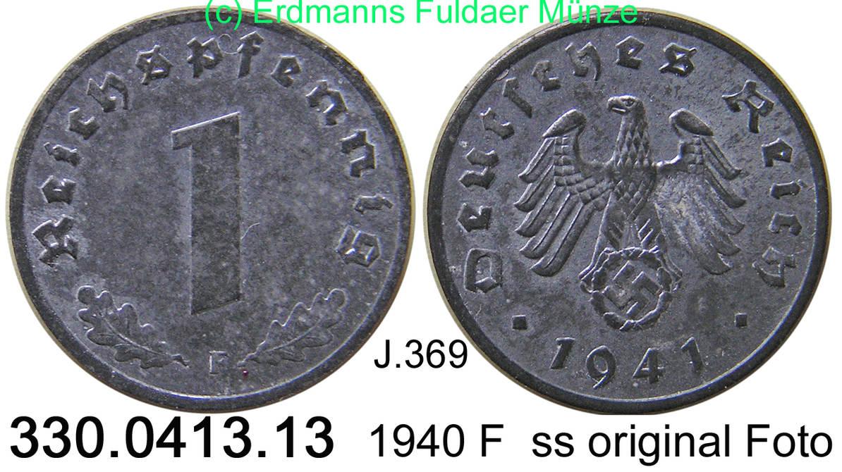 1 Reichspfennig 1941 F Deutschland III. Reich J.369 . 330.0413.13 VF