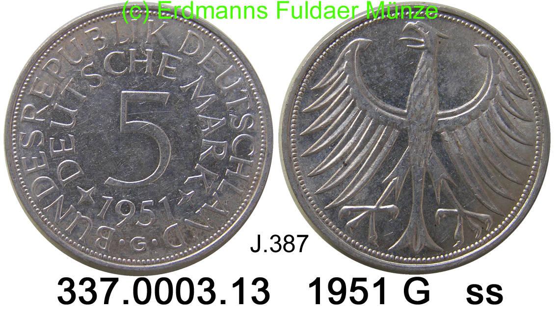 5 Dm 1951 G Germany Deutschland J387 Kursmünze Silber 337000313