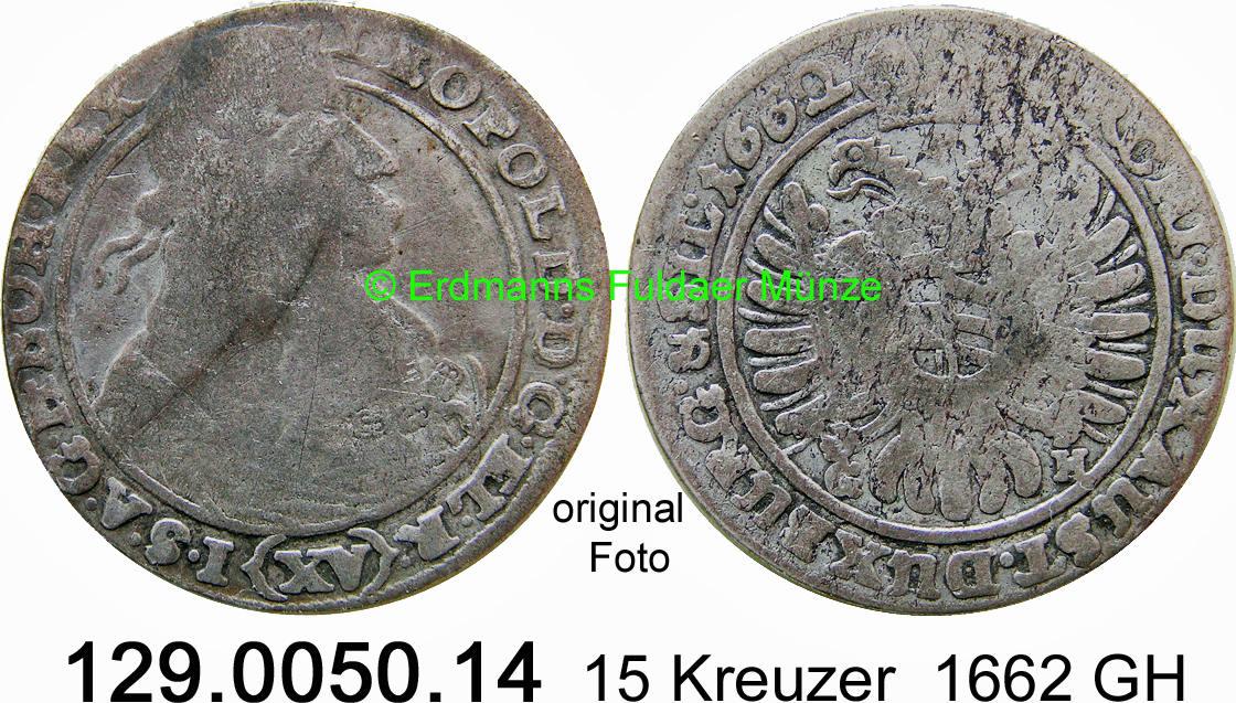 15 Kreuzer 1662 Habsburg Breslau Herinek 1009 Leopold I Tb Ma Shops
