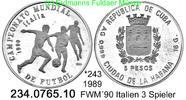 5 Pesos 1989 Cuba Kuba  *243 FWM´90 drei Spieler . 234.0765.10  PP  25,00 EUR  +  8,95 EUR shipping