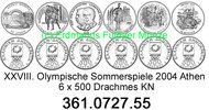 6 Werte 2000 Greece Griechenland *125 bis *130 Oly´2004 . 361.0727.55  ... 29,25 EUR  +  8,95 EUR shipping