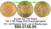 10 + 20 Paanga 1980 Tonga  . *49,*50 FAO Frauenjahrzehnt Gold unc  99,75 EUR  +  8,95 EUR shipping