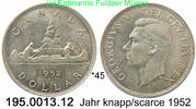 1 Dollar 1952 Kanada *45 KM46 . 195.0013.12 vz  80,00 EUR  +  8,95 EUR shipping