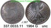 5 DM 1964 G Germany Deutschland J. 387 Kursmünze Silber . 337.0033.11 u... 35,00 EUR  +  8,95 EUR shipping