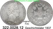 Geschichtstaler 1837 Deutschland Bayern AK...