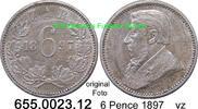 6 Pence 1897 Südafrika South Africa *4 KM4 vz